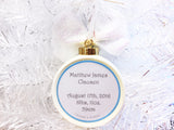 Snowmen Blue & Gray Custom Family Christmas Ornament