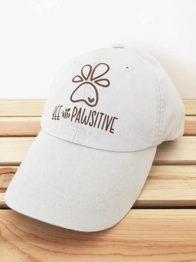 Bee Pawsitive Baseball Hat - LIGHT PINK HAT w/ brown design ( not beige as pictured)