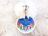 Ice Skating Penguins Custom Family Christmas Ornament