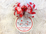 Woodland Fox Gray and Red Custom Family Christmas Ornament