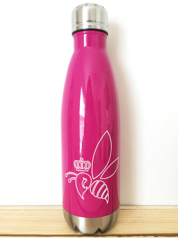 Crown & Honey Bee Stainless Steel Thermal Bottle - Raspberry
