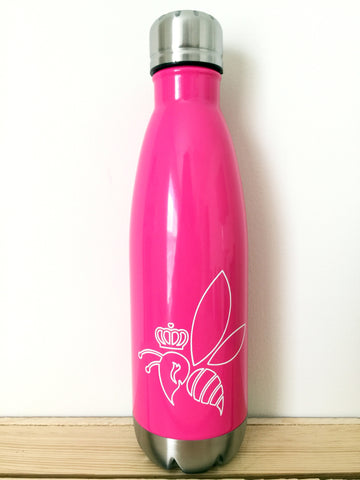 Crown & Honey Bee Stainless Steel Thermal Bottle - Hot Pink