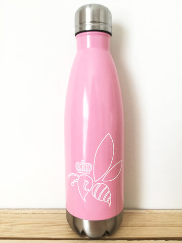 Crown & Honey Bee Stainless Steel Thermal Bottle - Bubblegum