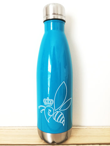 Crown & Honey Bee Stainless Steel Thermal Bottle - Turquoise