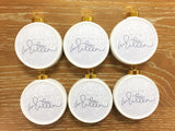 Set of 6 Glitter Christian Christmas Ornaments - Silver