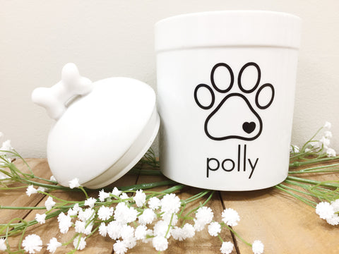 Paw Print Porcelain Treat Jar - Black