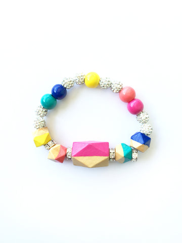 Carnival Lights Statement Faceted Geometric Hand Painted Wood Bracelet