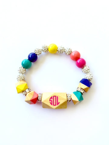 PERSONALIZED Carnival Lights Statement Faceted Geometric Hand Painted Wood Bracelet
