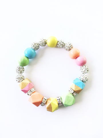 Pastel Rainbow Faceted Geometric Hand Painted Wood Bracelet