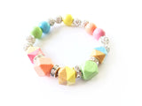 Set of Pastel Rainbow Faceted Geometric Hand Painted Wood Bracelets