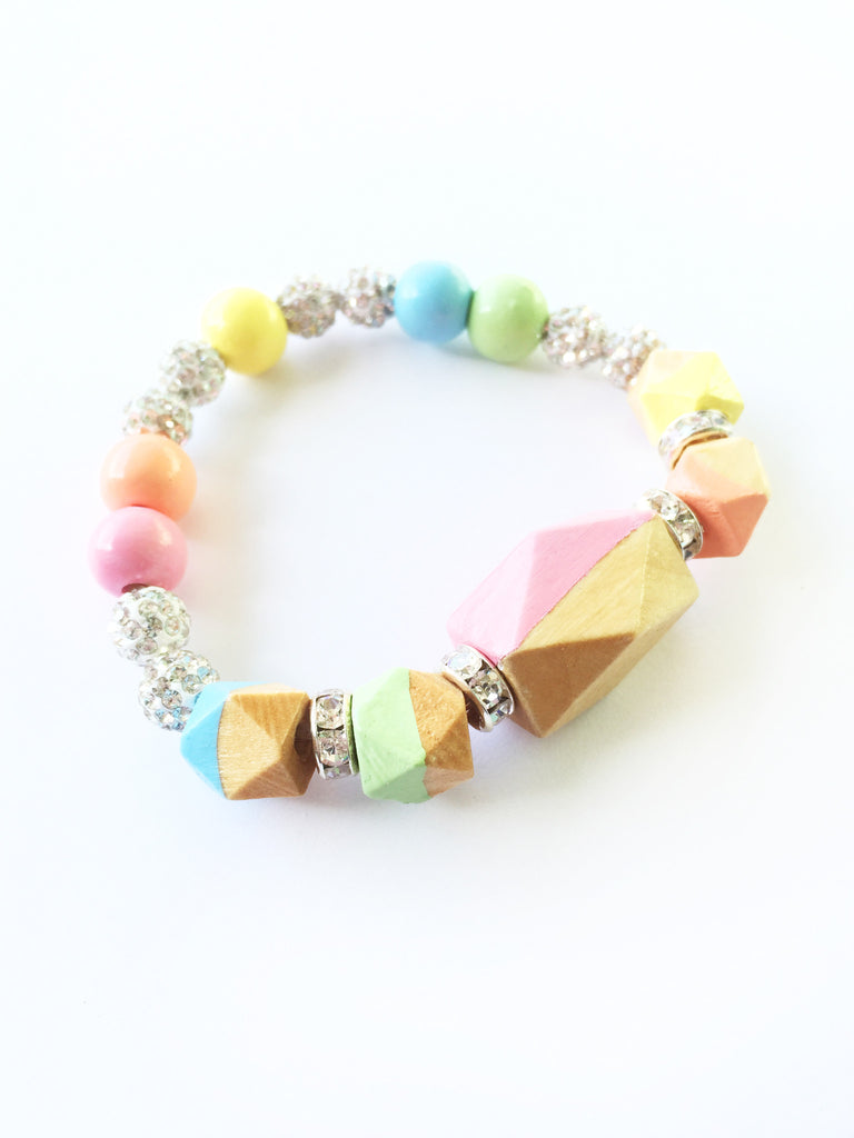 Pastel Rainbow Statement Faceted Geometric Hand Painted Wood Bracelet