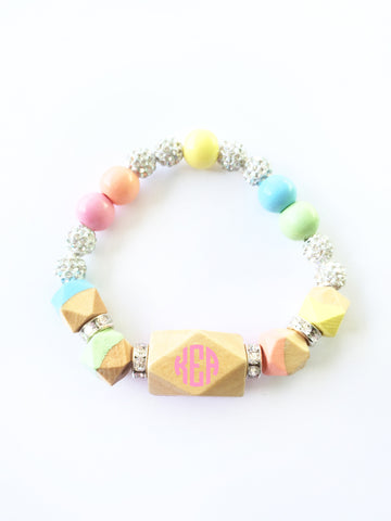 PERSONALIZED Pastel Rainbow Statement Faceted Geometric Hand Painted Wood Bracelet