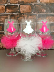 BRIDE  and BRIDAL PARTY Dresses - Wine Glass Personalized and Custom Colors