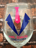 GROOM and GROOMSMAN Tie Tuxes - Wine Glass Personalized and Custom Colors