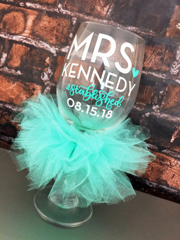 Mrs. Established Bride Glass Personalized and Custom Colors