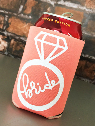 Handlettered Bride Ring Can Cooler - Personalized and Custom Colors