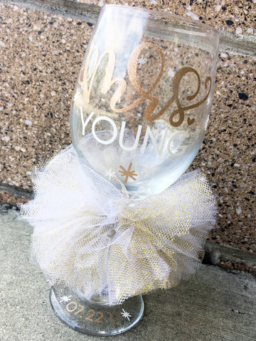 Mrs. Bride Glass Personalized and Custom Colors
