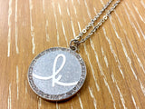 Initial Rhinestone Pendant Necklace - Silver