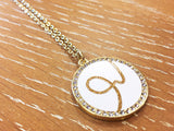 Initial Rhinestone Pendant Necklace - Gold