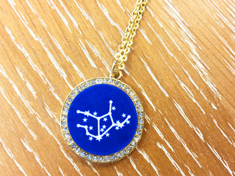 Zodiac Constellation Rhinestone Pendant Necklace - Gold