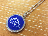 Zodiac Constellation Rhinestone Pendant Necklace - Silver