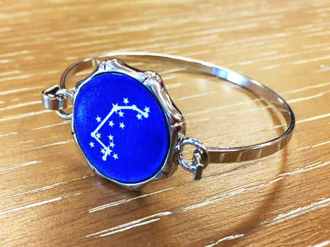 Zodiac Constellation Bangle Bracelet - Silver
