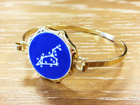 Zodiac Constellation Bangle Bracelet - Gold