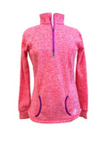 Marled Crown & Honey 1/4 Zip Pullover Flame Coral/Magenta