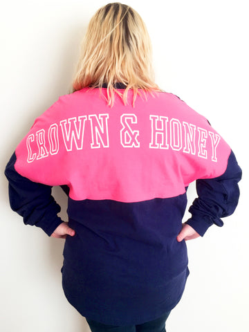 Crown & Honey Color Block Pocket Game Day Jersey - NAVY/PINK