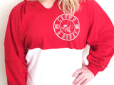 Crown & Honey Color Block Game Day Jersey Hoodie - RED/WHITE
