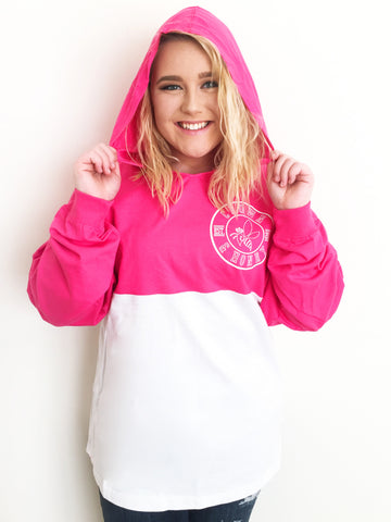 Crown & Honey Color Block Game Day Jersey Hoodie - PINK/WHITE