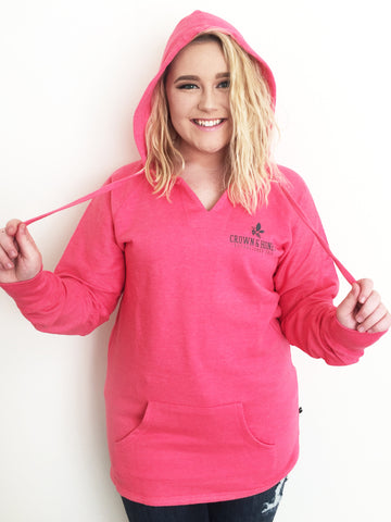 Crown & Honey V-Neck Hoodie Hoodie - CORAL PINK