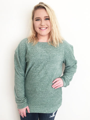 Terry Loop Crew Neck Sweater - Emerald
