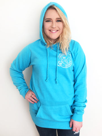 Crown and Honey Logo Hoodie Caribbean Blue
