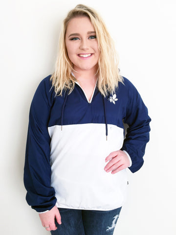 Crown & Honey 1/4 Zip Lined Anorak Rain Jacket - Navy