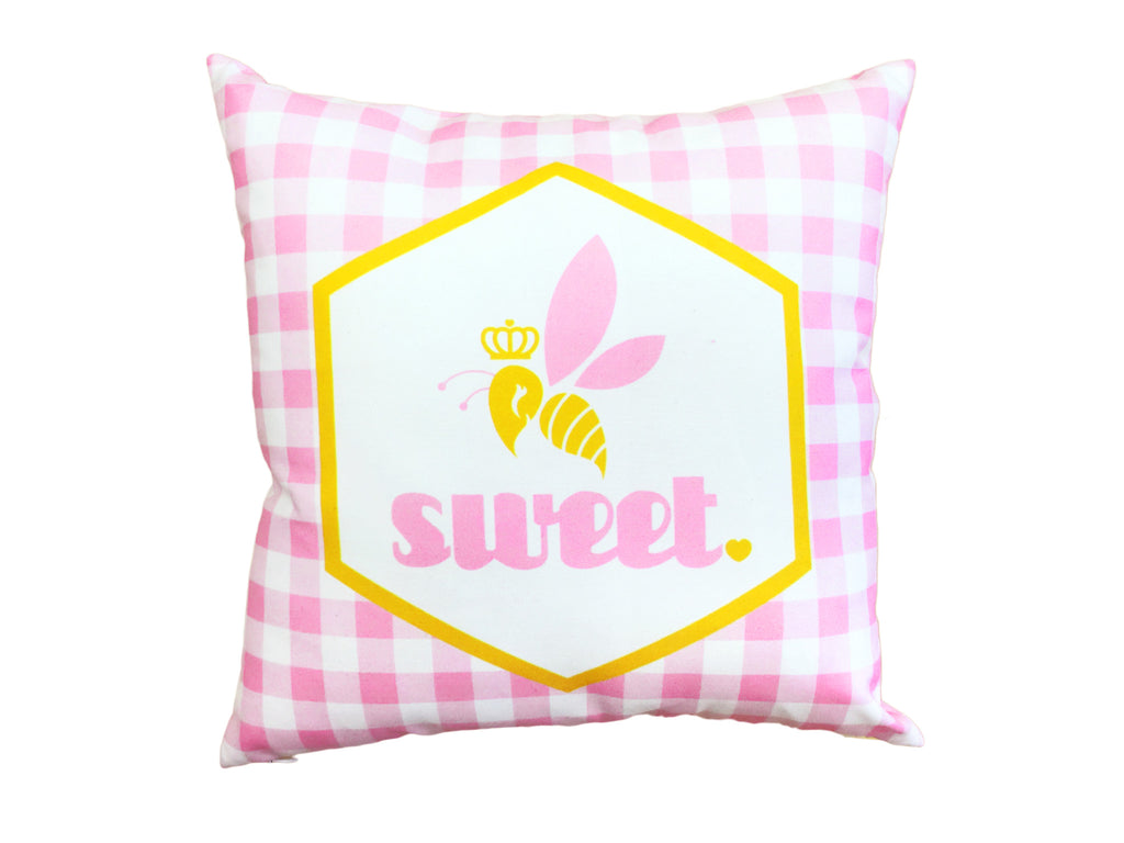 Bee Sweet Pillow - Pink