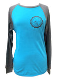 Crown & Honey Raglan Two Tone Long Sleeve Baseball Shirt Aqua
