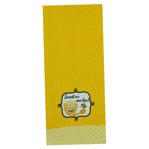 Sweet as Can Bee  Kitchen Dish Towel with Embroidered Applique