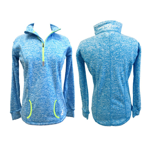 Marled Crown & Honey 1/4 Zip Pullover Electric Blue/Green