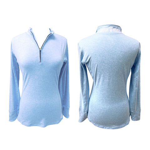 Marled Crown & Honey 1/4 Zip Pullover Icy Blue