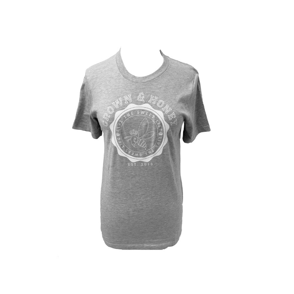 Wax Seal  White Glitter Crown and Honey Logo Ladies Tee Shirt in Grey