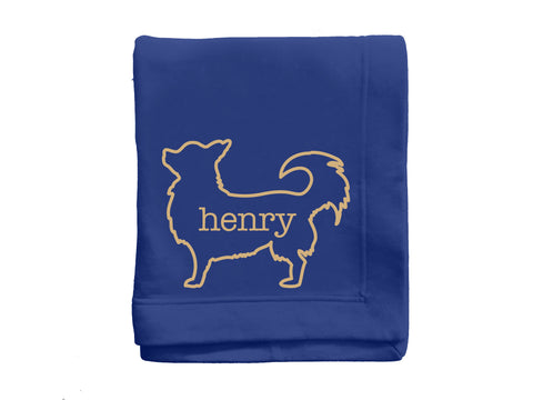 *CUSTOM* Dog Breed Silhouette Fleece Stadium Blanket