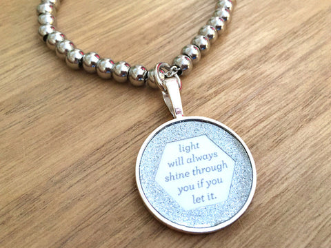 Light Will Always Shine Through You if You Let it Stainless Steel Glitter Bracelet