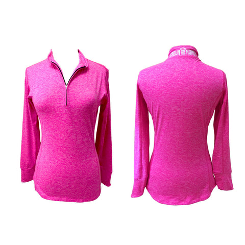 Marled Crown & Honey 1/4 Zip Pullover Neon Pink