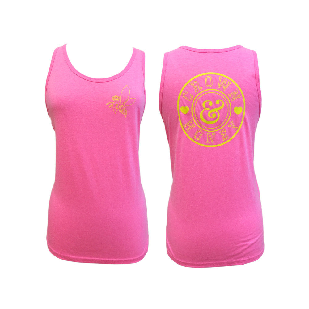 Tank Top  Neon Pink and Yellow  Crown & Honey