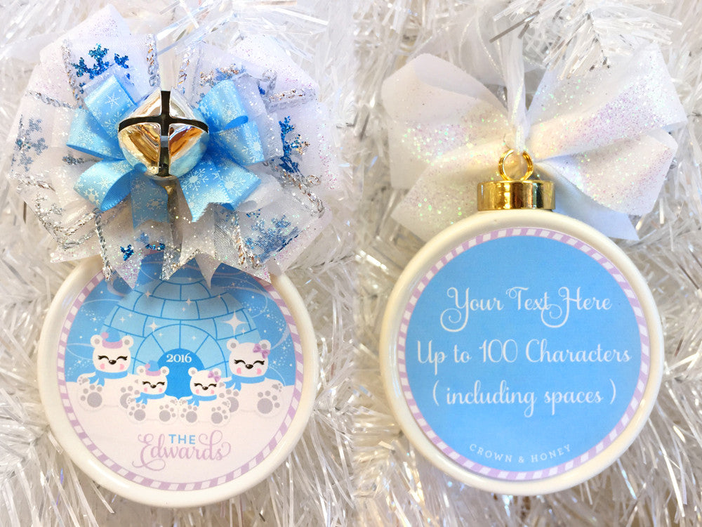 Polar Bears Blue & Purple Custom Family Christmas Ornament