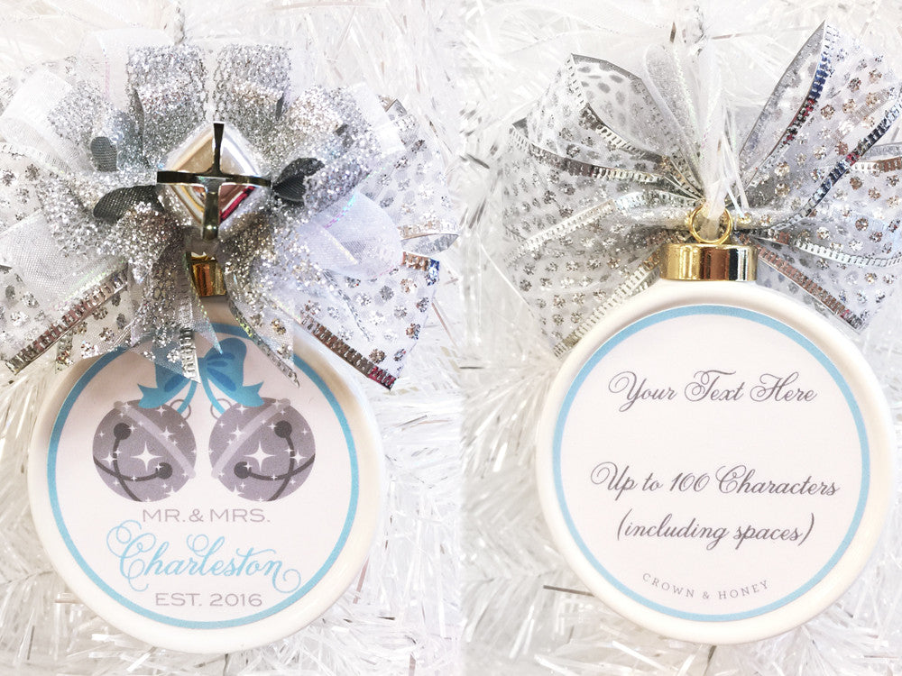 Jingle Bells Custom Wedding Christmas Ornament - Silver Bells