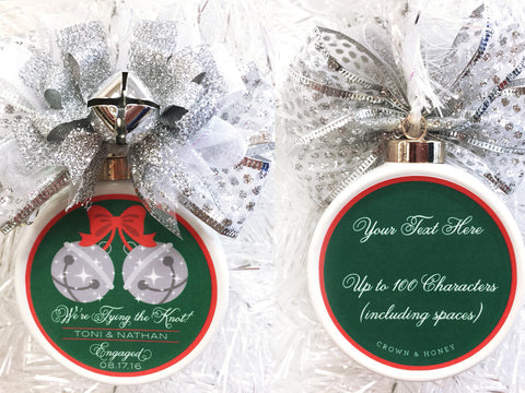 Jingle Bells Custom Engagement Christmas Ornament - Silver Bells