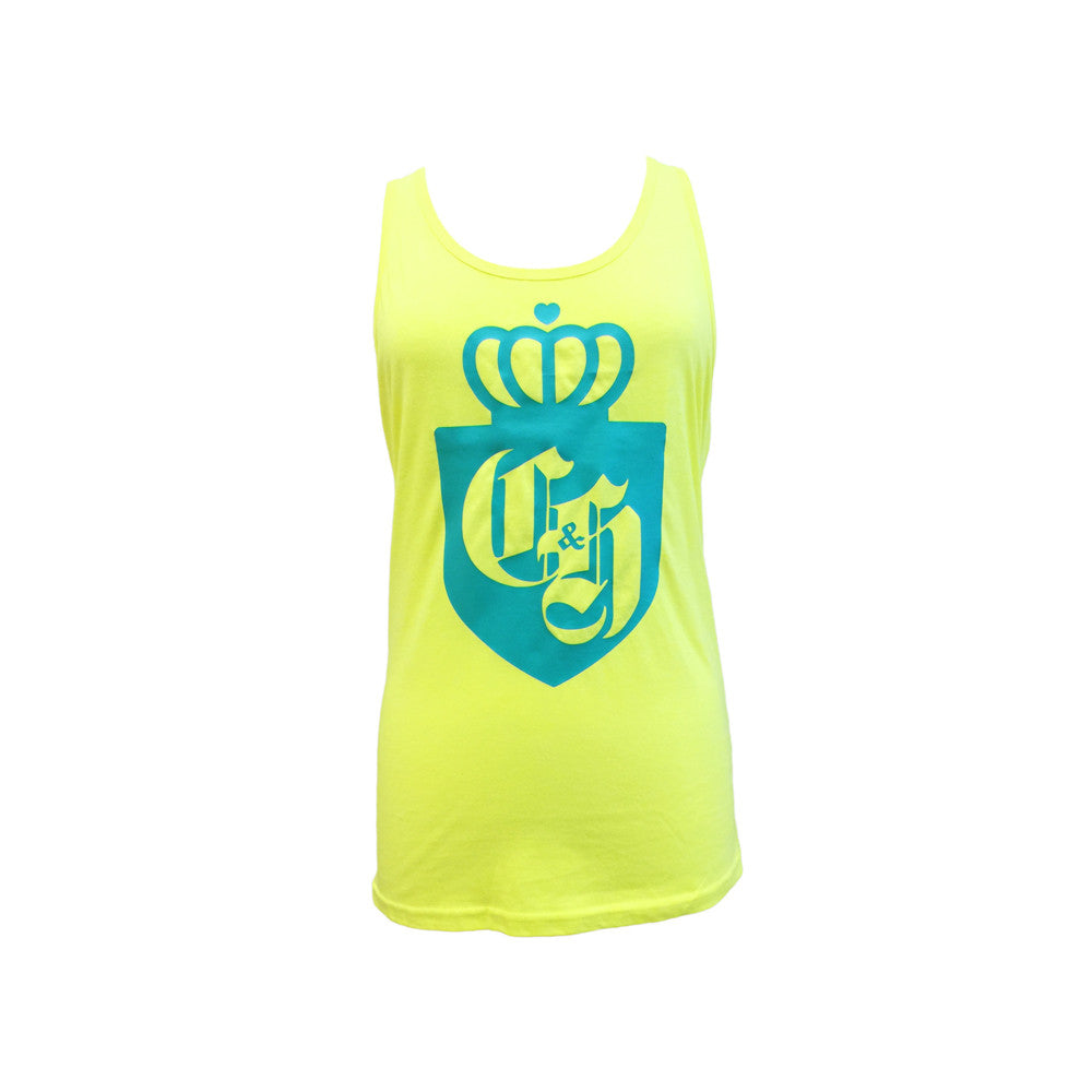 Tank Top  Neon Yellow /Teal Crown Logo Crown & Honey