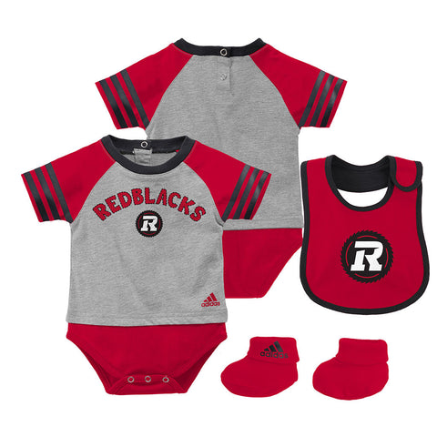 Ottawa REDBLACKS Adidas Newborn Youth Little Kicker Creeper, Bootie & Bib Set